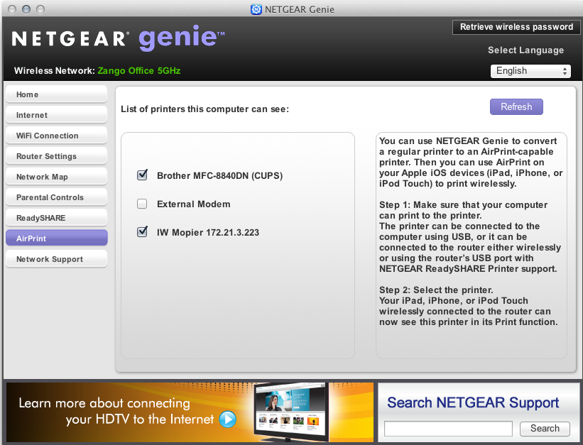 Netgear's Genie router-management application for OS X and Windows offers AirPrint support as a bonus.