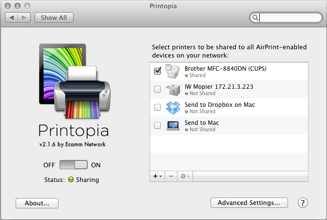 The Printopia system preference for enabling AirPrint on OS X.