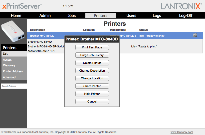 The xPrintServer's Web console lets you configure printers and user access, as well as add printers not detected by the appliance