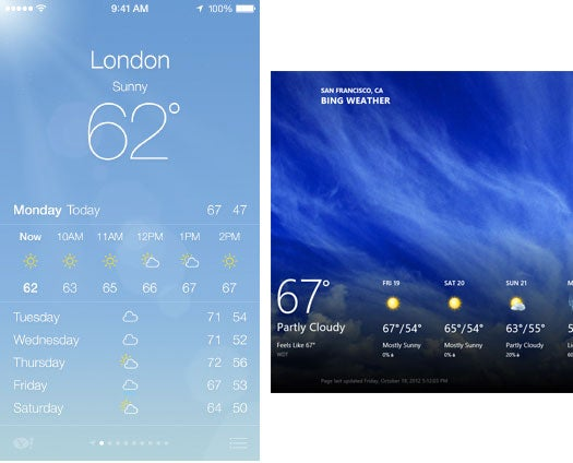 iOS 7 (left) full-screen, layered, often animated graphics as background, like Windows 8's Metro does