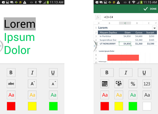 Formatting features in Office Mobile are basic