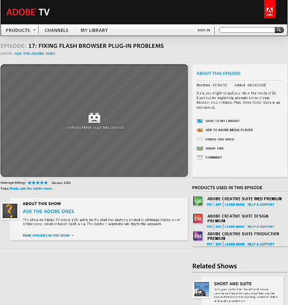 Adobe plug-in crash, on Adobe site