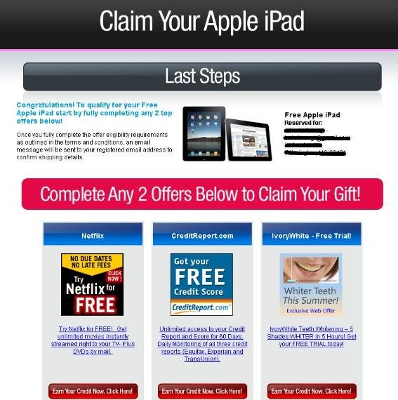 facebook 'free' apple ipad offers