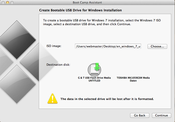 make a windows 7 boot disk on mac