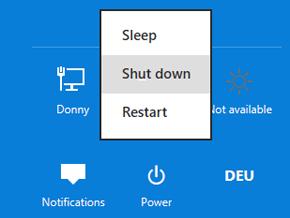 Windows 8 settings menu