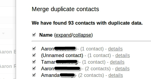 Merging duplicates in Google Contacts