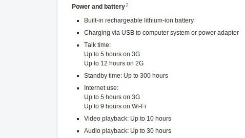 iPhone 3GS battery specifications, per Apple