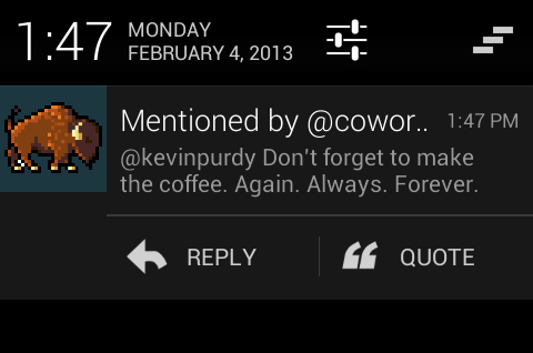 Smart notification from Carbon on Android