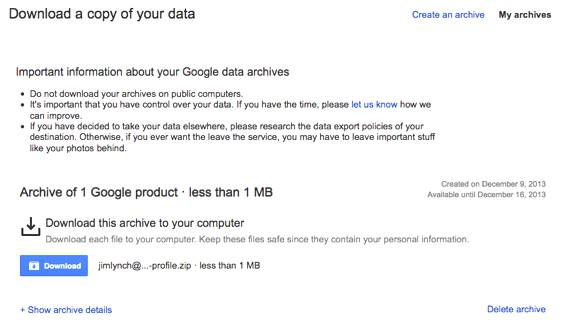 Google Takeout Archive Download
