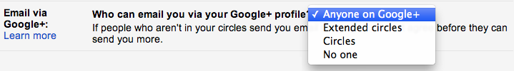 Gmail Google+ settings