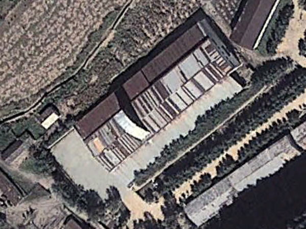 Google Earth image shows the location of one of two missile launcher factories discovered in North Korea