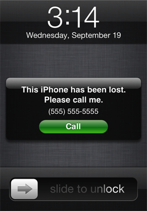 Find My iPhone lost message