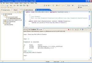 A screenshot of the OSGi console.