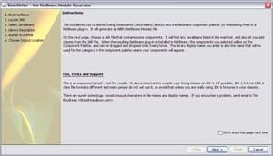 A screenshot of the NetBeans Module Generator for Swing Components wizard.