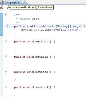 Applying custom Checkstyle rules in Java source code.