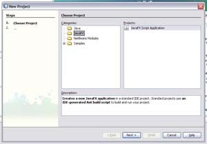 NetBeans defaults to the JavaFX project category, which lets you only create JavaFX Script applications.