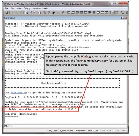 Just opening a dump file caused WinDbg to attempt to identify the culprit, in this case myfault.sys