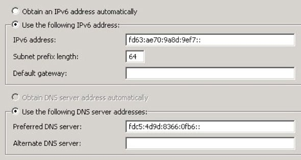 Screen shot showing adding a new, static IPv6 address to the LAN interface
