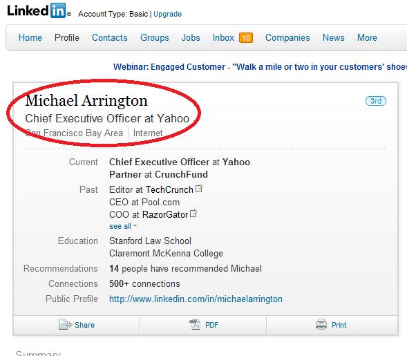 linkedin - Yahoo Ceo Resume