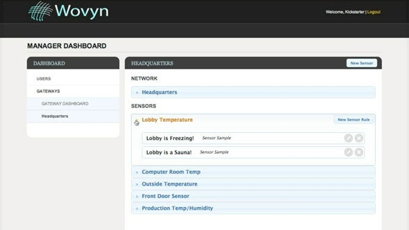 The Wovyn Web service management interface