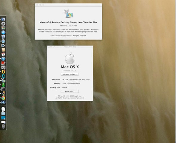 Reader Keith Rinaldo's OS X 10.7 desktop running Microsoft Remote Desktop Connection Client 2.1 which Microsoft says doesn't work
