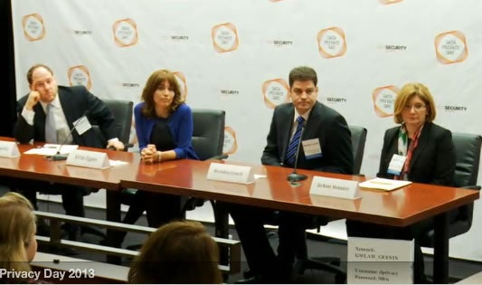 Screengrab of NCSA Data Privacy Day 2013 event 1st panel of privacy chiefs