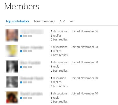 Members list view
