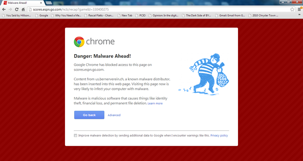 Google Chrome issues warnings while blocking ESPN com and