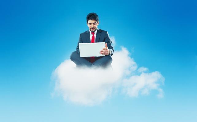 man on cloud computer laptop worker user