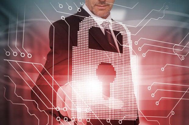 cybersecurity lock touch worker man