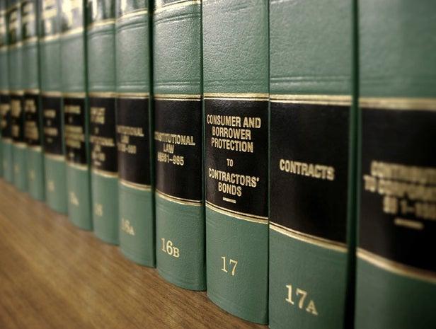 Legal books on a shelf