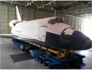 Image of Endeavour in the hangar