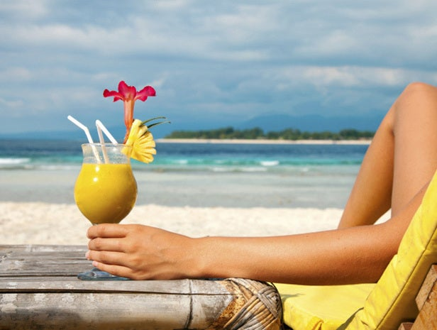 Person relaxing on a beach