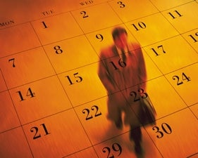 man walking calendar dates appointments