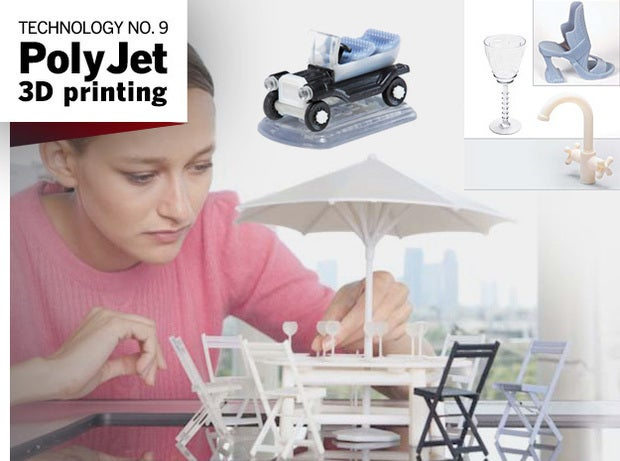 Examples of PolyJet 3D printed products.