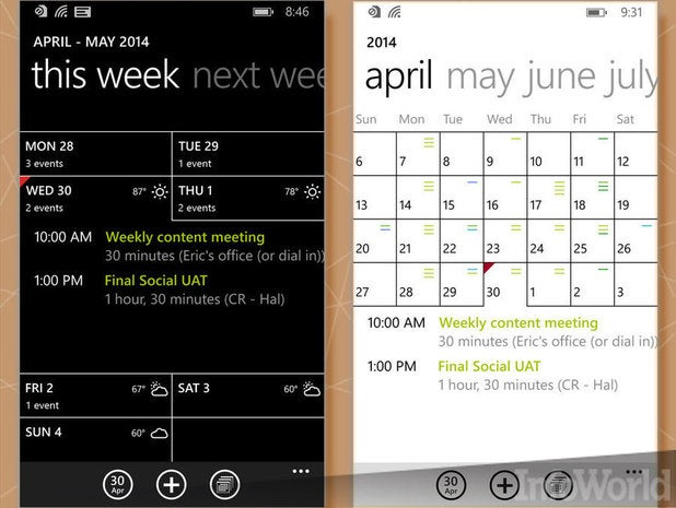 Pull-out calendar view