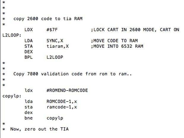 Sample Atari 7800 ProSystem OS source code