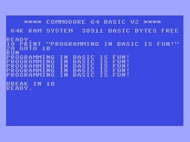 Photo of a Commodore 64 emulator running a BASIC program