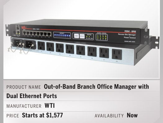 Out-of-Band Branch Office Manager with Dual Ethernet Ports