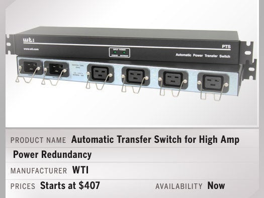 Automatic Transfer Switch for High Amp Power Redundancy
