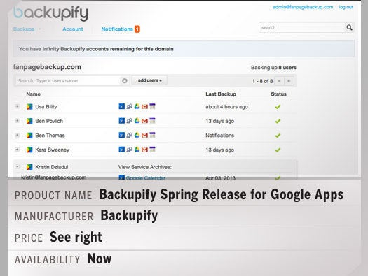 Backupify Spring Release for Google Apps