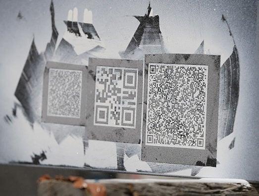QR codes sandblasted