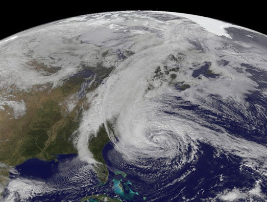 Hurricane Sandy hits