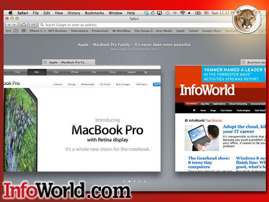 OS X Mountain Lion Safari tabs view