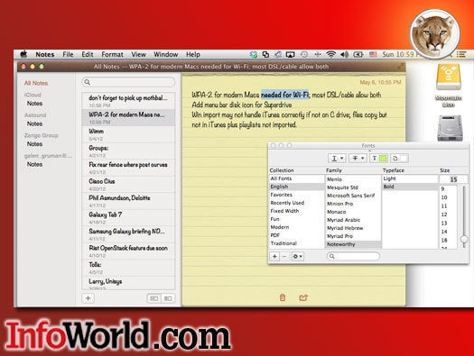 OS X Mountain Lion Notes app