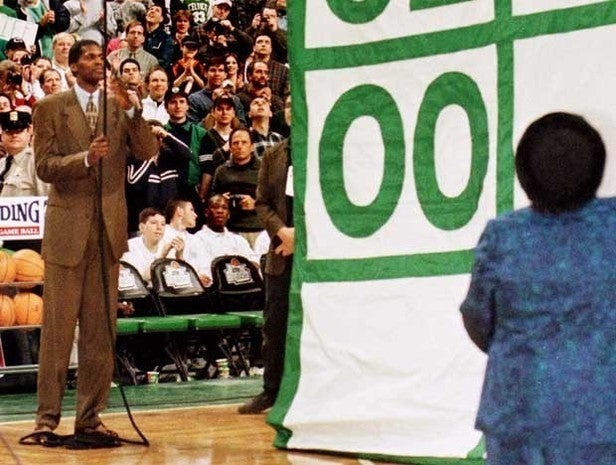 Robert Parish's number retired by Boston Celtics