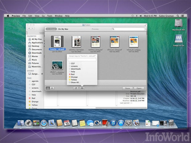OS X Mavericks file tags