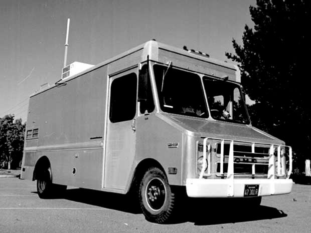 Picture of Stanford's \Internet Van\, site of the first three-way internetworked transmission