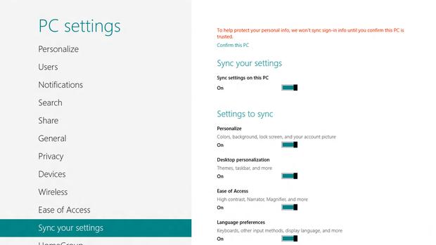 Windows 8 Settings Sync