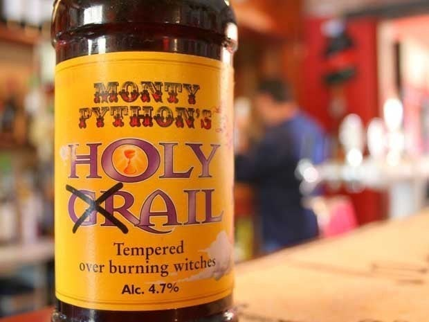 A picture of a bottle of beer named Monty Python's Holy Ail